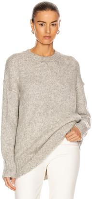 R 13 Oversized Crewneck Sweater in Heather Grey | FWRD