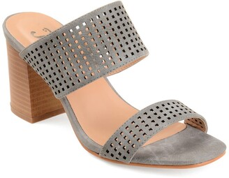 Journee Collection Sonya Perforated Block Heel Sandal
