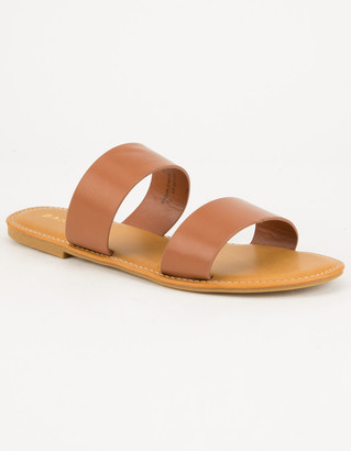 Bamboo Double Strap Tan Womens Sandals