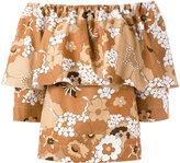 Chloé floral bardot top - women - Cotton - 42