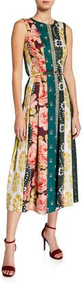 Oscar de la Renta Scarf-Striped Pleated Midi Dress