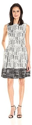 Ellen Tracy Women's Black and White Printed Fit and Flare Dress 12
