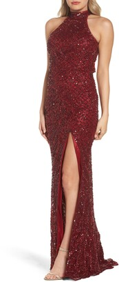 Mac Duggal Embellished Halter Column Gown