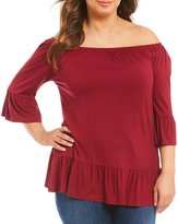 Moa Moa Plus Off The Shoulder Bell Sleeve Tunic