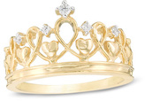 Zales Diamond Accent Heart Crown Ring in Sterling Silver with 14K Gold Plate