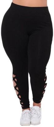 TIFIY Women Fashion Plus Size Solid Bandages Hollow Out Sport Fitness Workout Gym Yoga Pants Leggings Trouser (3XL(Waist 34.6-44.1')
