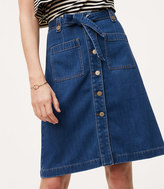 LOFT Denim Tie Waist Button Skirt