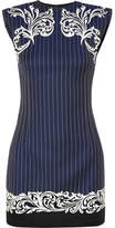 Versace Satin-trimmed Embroidered Pinstriped Wool Mini Dress - Navy
