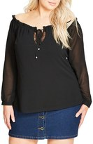 City Chic Lace Inset Off the Shoulder Ruffle Top (Plus Size)