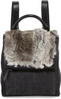 Adrienne Landau Rabbit Fur Canvas Mini Backpack, Gray
