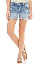 Miss Me Studded Frayed Hem Stretch Denim Shorts