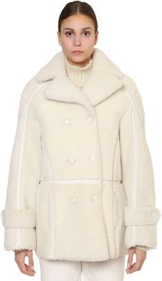 Alberta Ferretti Long Double Breasted Shearling Jacket