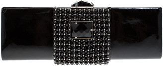Giorgio Armani Black Beaded Embellished Patent Leather Clutch