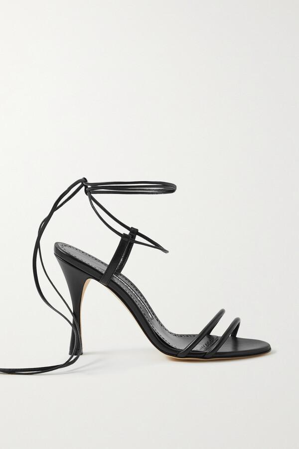 Manolo Blahnik Cochisa Leather Sandals - Black