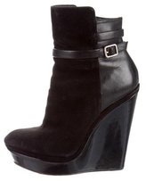 Brian Atwood Leather Wedge Booties
