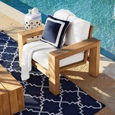 Williams-Sonoma Williams Sonoma Outdoor Solid Pillow Cover with White Border, Navy