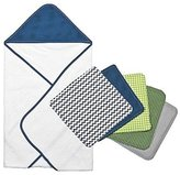 Trend Lab 6pc Perfectly Navy Dot Hooded Towel and Wash Cloth Bouquet Set by