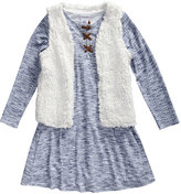 Youngland Blue & White Shift Dress & Faux Sherpa Vest - Toddler & Girls