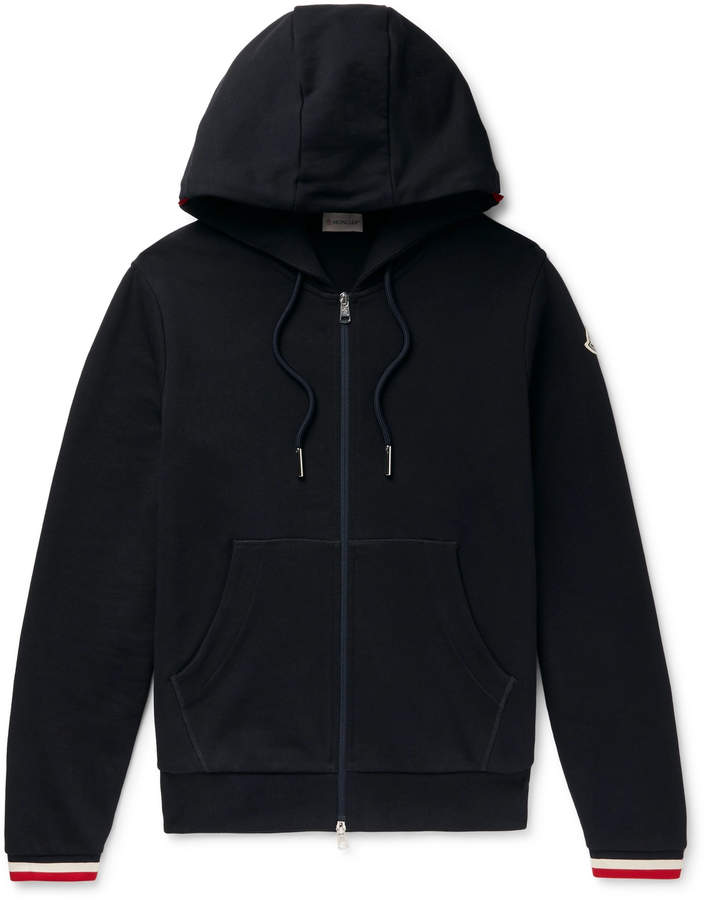Moncler Maglia Striped Loopback Cotton-Jersey Zip-Up Hoodie - Men - Blue