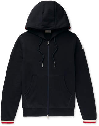 Moncler Maglia Striped Loopback Cotton-Jersey Zip-Up Hoodie