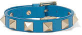 Valentino The Rockstud Leather And Gold-tone Bracelet - Azure
