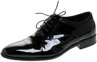 Salvatore Ferragamo Black Patent Leather Aiden Oxfords Size 43