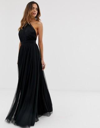 Asos Design DESIGN one shoulder tulle maxi dress-Black