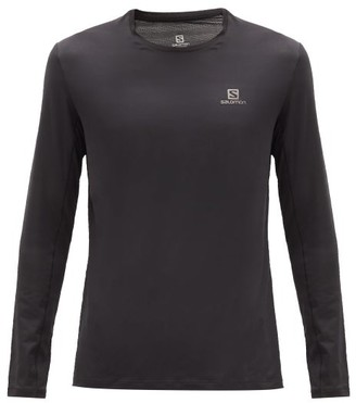 Salomon Xa Mesh Striped Long Sleeved T Shirt - Mens - Black