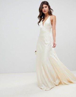 Asos Edition EDITION satin panelled wedding dress with fishtail-Cream