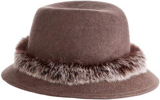 Eric Javits Bunny Genuine Rabbit Fur Trim Wool Fedora