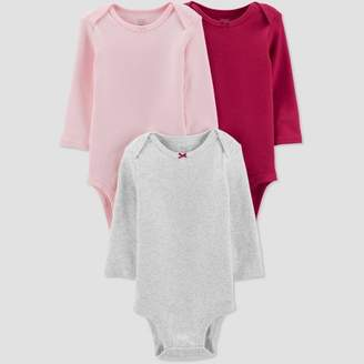 Carter's Just One You made by carter Baby Girls' 3pk Basic Long Sleeve Solid Bodysuits - Just One You® made by Pink/Gray