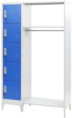 "VidaXL Locker Cabinet with Coat Rack Blue and Gray 43.3""x17.7""x70.9"" Metal"