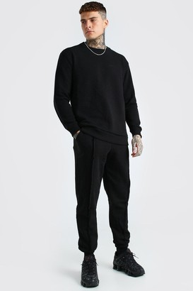 boohoo Mens Black MAN Official Raw Seam jumper Tracksuit, Black