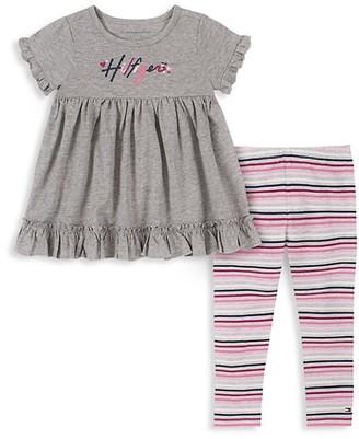 Tommy Hilfiger Little Girl's 2-Piece Ruffled Babydoll Top Leggings Set
