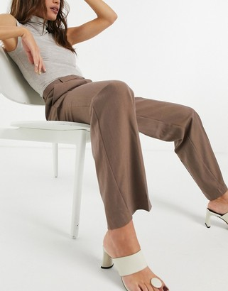 ASOS DESIGN perfect slouch dad suit pants in mocha