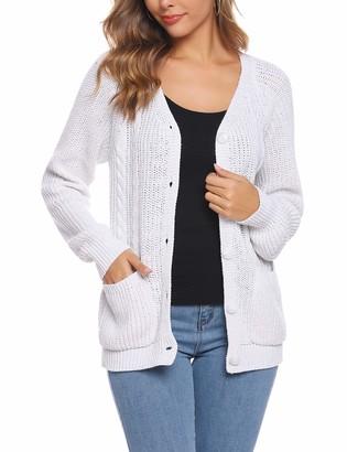 iClosam Women's Knit Cardigan Round Neck Jacquard Long Sleeve Classic Basic Soft Cardigan Sweater Solid Color Stylish