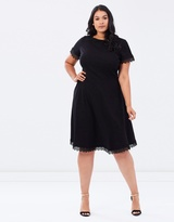 Necklace Trim Fit-and-Flare Dress