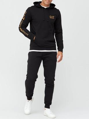 EA7 Emporio Armani Extended Logo Overhead Hoodie - Black Gold
