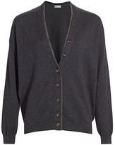 Brunello Cucinelli Monili-Trim V-Neck Wool & Cashmere-Blend Cardigan