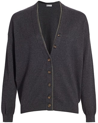 Brunello Cucinelli Monili-Trim V-Neck Wool & Cashmere-Blend Cardigan