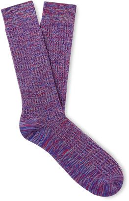 Melange Home Ribbed Cotton And Nylon-Blend Socks