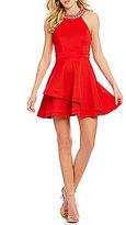 B. Darlin Jeweled-Neck Tiered Skirt Skater Dress