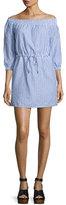 Rag & Bone Drew Poplin Off-the-Shoulder Drawstring Dress, Blue/White Stripe