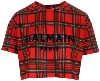 Balmain Tartan Cropped T-Shirt