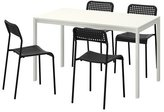 """Ikea Table and 4 chairs, white, black 49 1/4 """", 16204.20514.3426"""