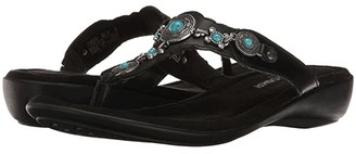 Minnetonka Boca Thong III (Black Leather) Women's Sandals