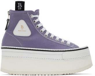 R 13 Purple Platform High-Top Sneakers