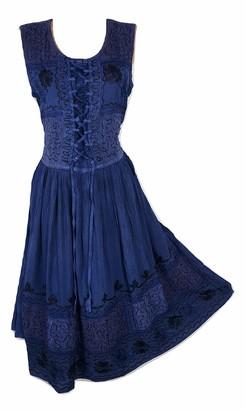 Doorwaytofashion Sleeveless Stone Wash Lace up Floral Embroidered Dress 10 12 14 14/16 (Black)