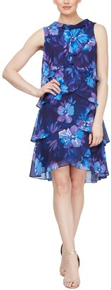 Slny Floral Sleeveless Petal Tiered Chiffon Dress