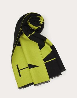 Valentino Garavani Uomo Vltn Scarf In Wool And Silk Man Black/neon Green Wool 96%, Silk 4% OneSize